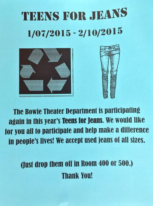Flyer for Teens for Jeans charity drive.