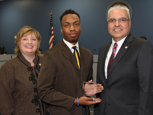 Senior Tariq Otuemhobe was noticed by Principal Bill Manley for his school involvement. On November 5th Tariq Otuemhobe was announced student of the month. My advise is become a well rounded student. Be strong in academics, involved in school, and involved in the community. Principal Mr. Manley said.