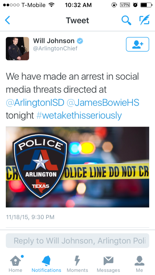 After+twitter+threats+being+made+to+the+school+it+raised+an+awareness.+Arlington+PD+took+the+situation+really+seriously.+Heavy+security+was+enforced+at+Bowie+and+an+investigation+was+made.