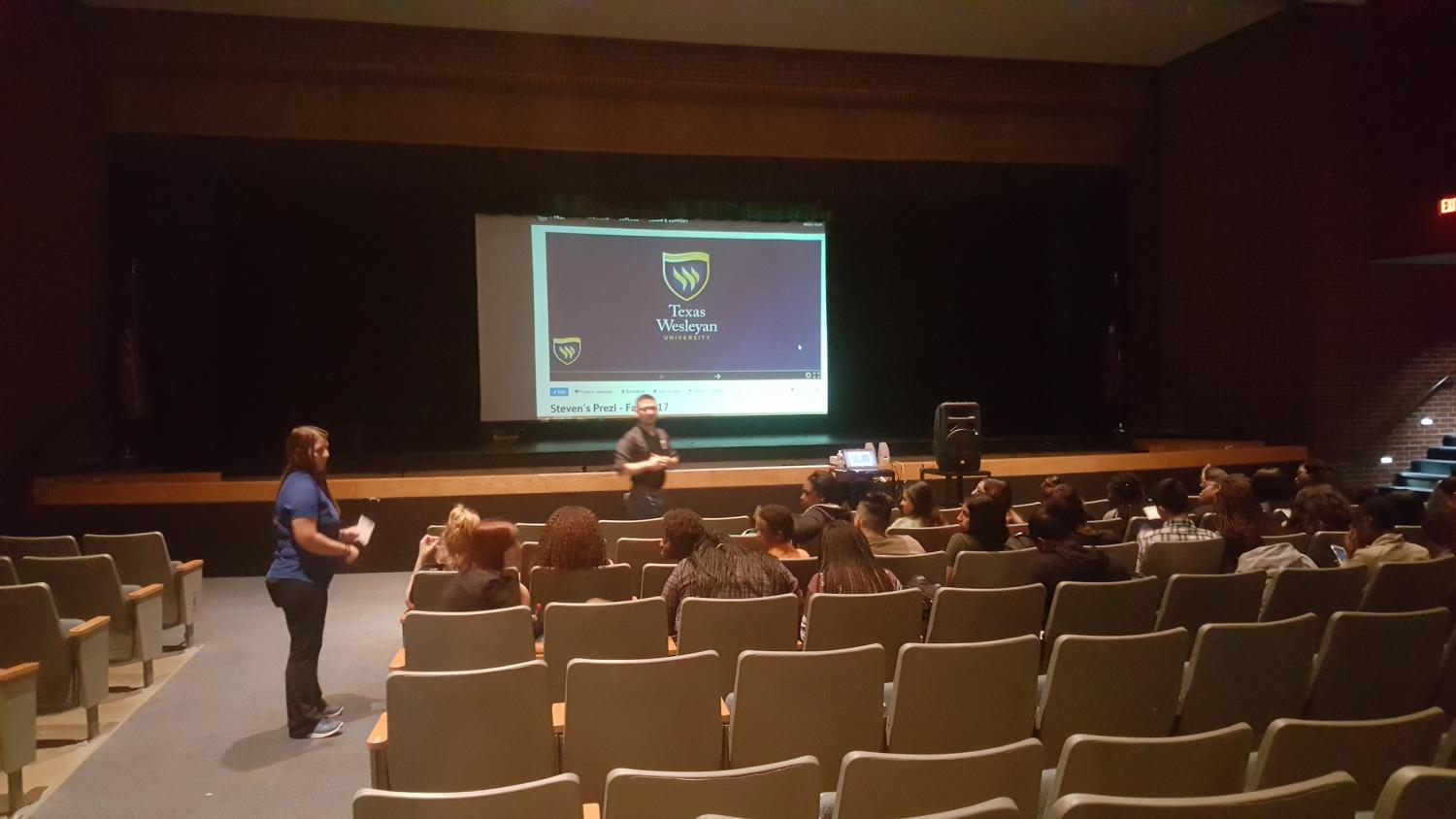 On May 10, A guest speaker was giving out information to AVID students about Texas Wesleyan University.